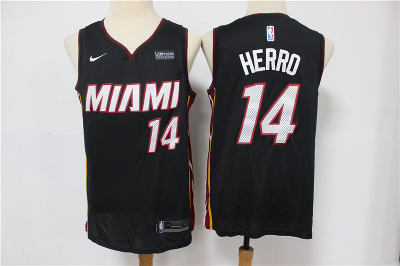 Heat 14 Tyler Herro Black Nike Swingman Jersey