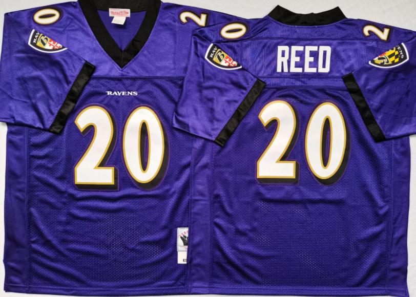 Ravens 20 Ed Reed Purple M&N Throwback Jersey