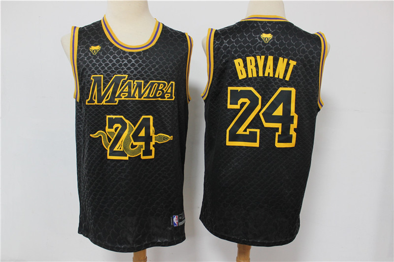 Lakers 24 Kobe Bryant Black Mamba Swingman Jersey