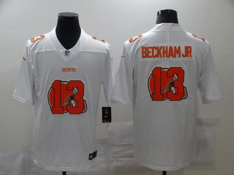 Nike Browns 13 Odell Beckham Jr. White Shadow Logo Limited Jersey