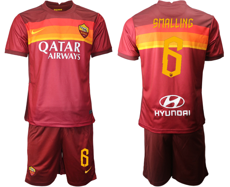 2020-21 Roma 6 SMALLING Home Soccer Jersey