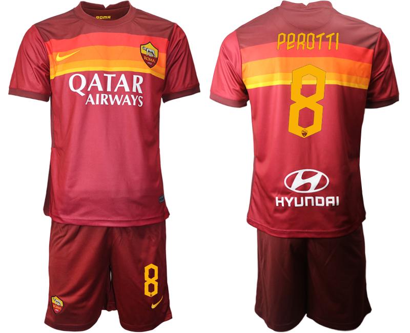 2020-21 Roma 8 PEROTTI Home Soccer Jersey