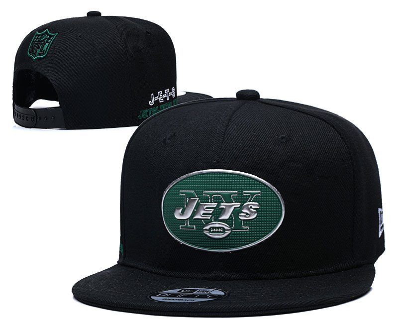 Jets Team Logo Black Adjustable Hat YD