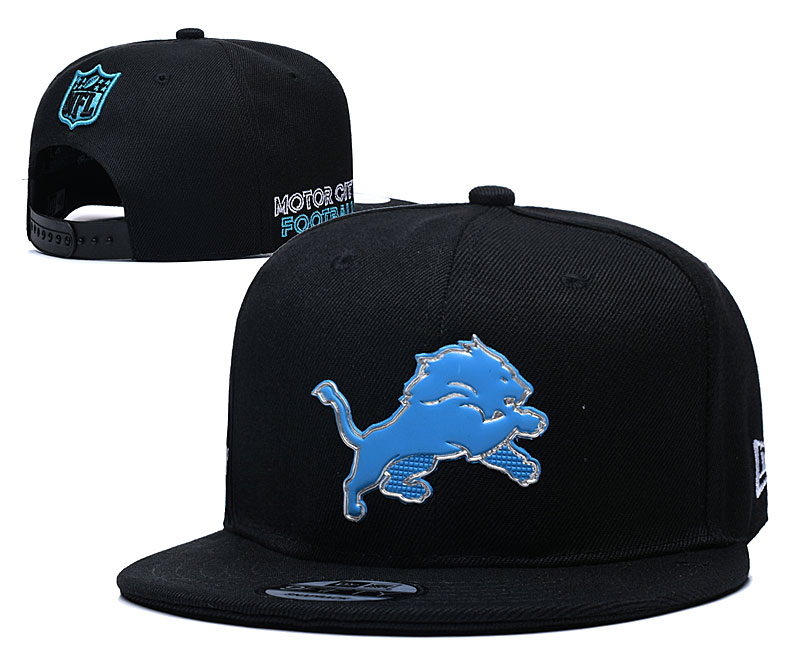 Lions Team Logo Black Adjustable Hat YD