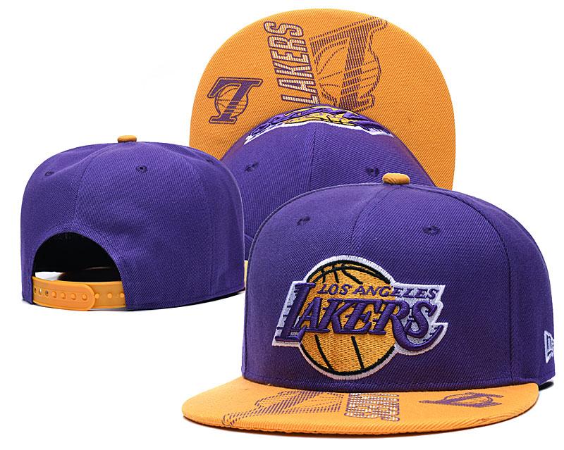 Lakers Team Logo Purple Adjustable Hat GS