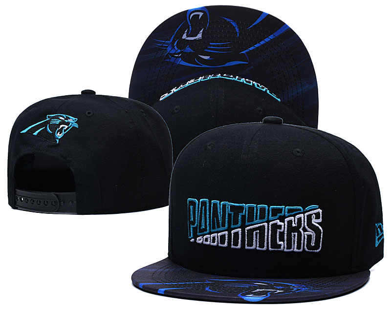 Panthers Team Logo Black 2020 NFL Summer Sideline Adjustable Hat YD