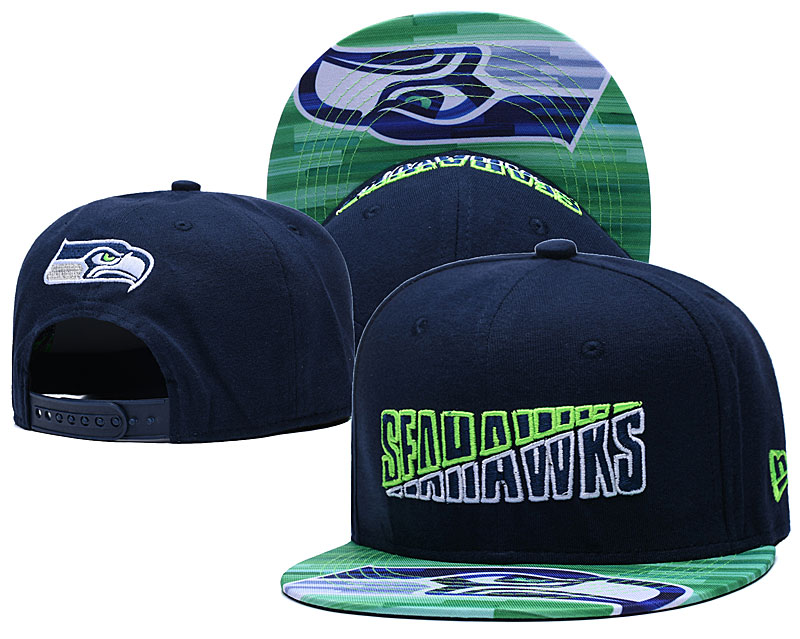 Seahawks Team Logo Navy 2020 NFL Summer Sideline Adjustable Hat YD