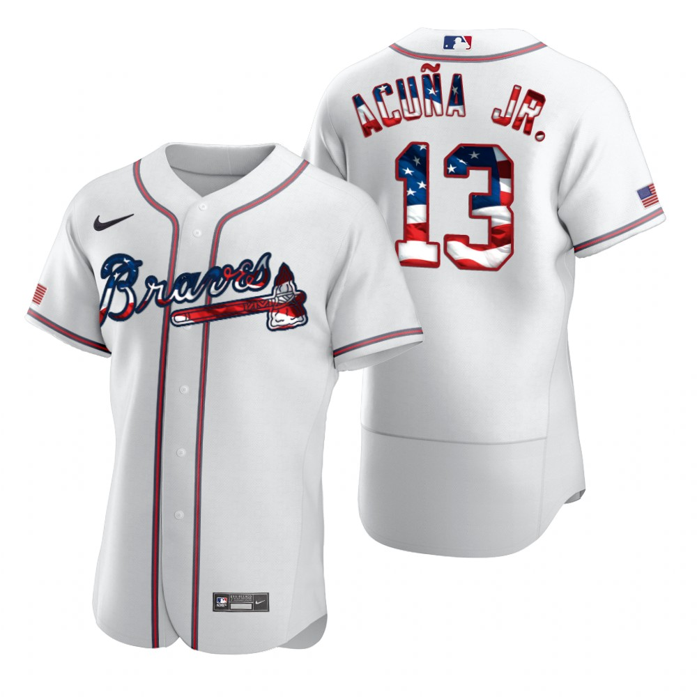 Braves 13 Ronald Acuna Jr. White USA Flag Fashion Nike Flexbase Jersey