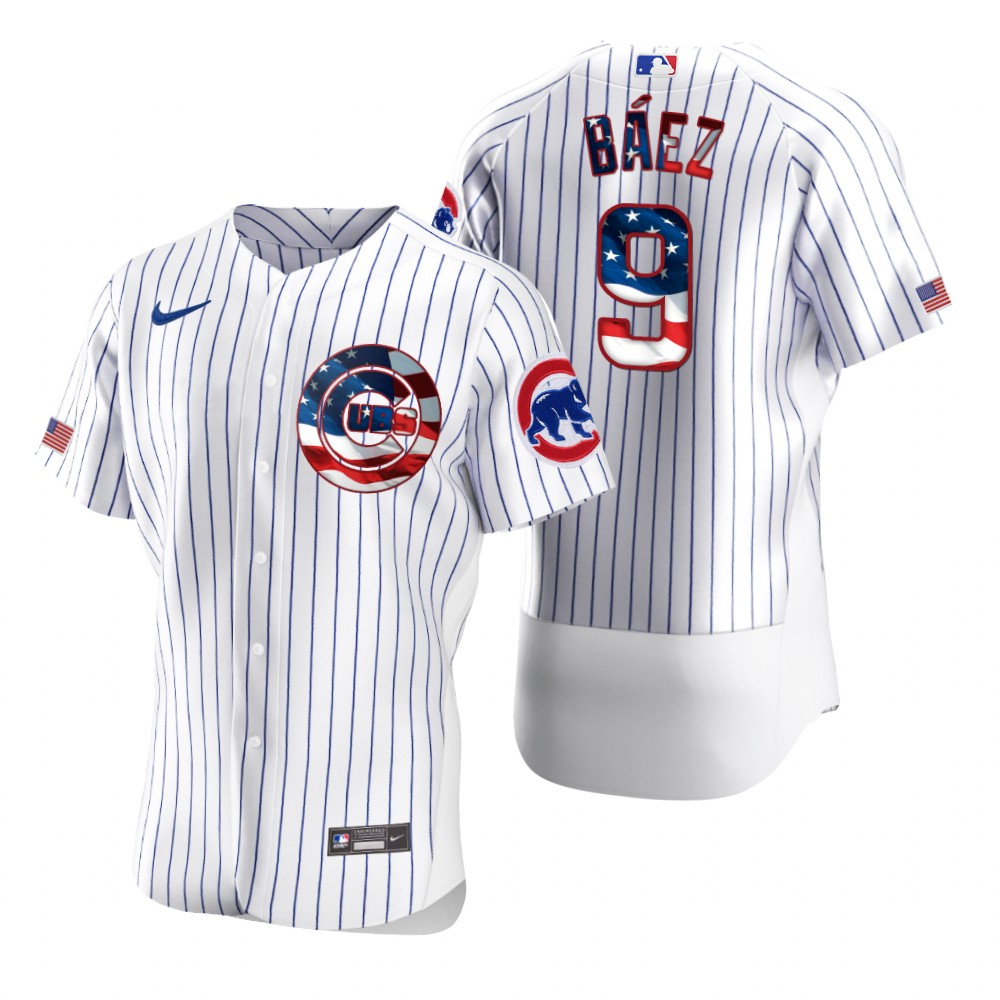 Cubs 9 Javier Baez White USA Flag Fashion Nike Flexbase Jersey