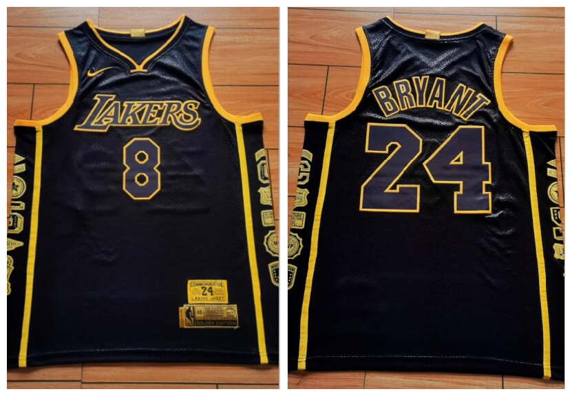 Lakers 8 & 24 Kobe Bryant Black Retirement Commemorative Swingman Jersey