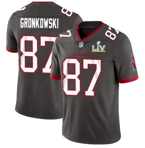 Nike Buccaneers 87 Rob Gronkowski Gray 2021 Super Bowl LV Vapor Untouchable Limited Jersey