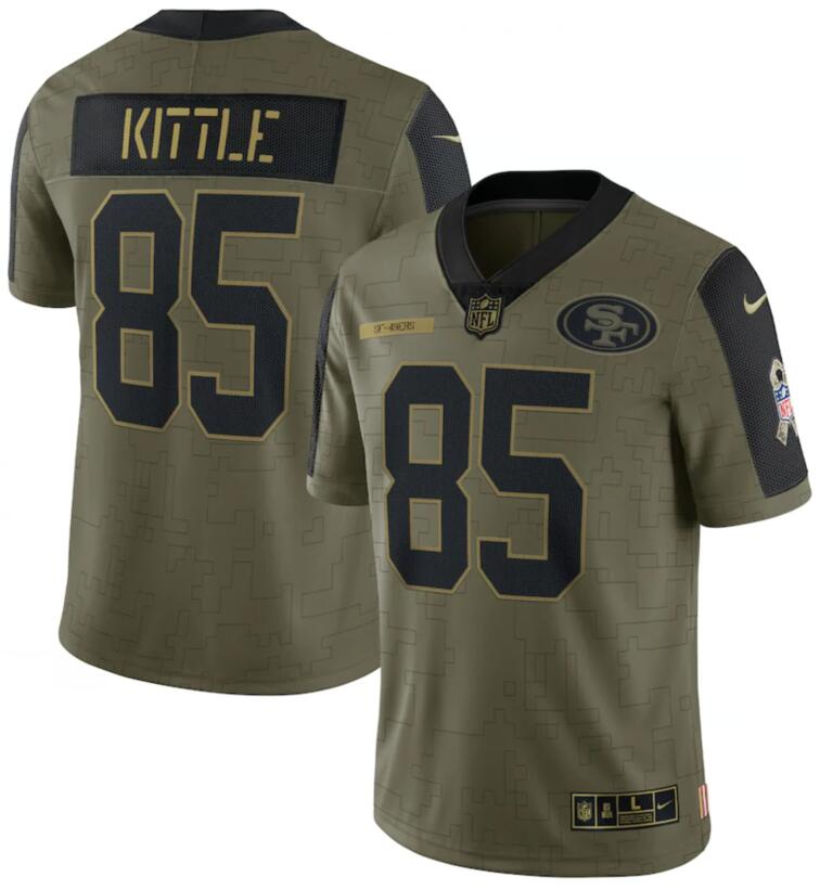 Nike 49ers 85 George Kittle Olive 2021 Salute To Service Limited Jersey