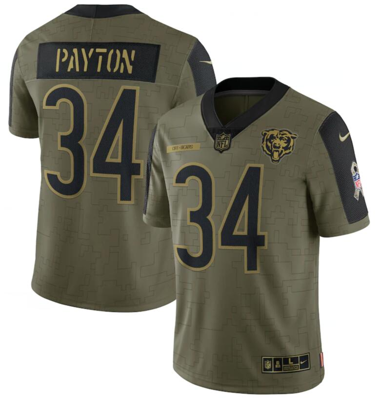 Nike Bears 34 Walter Payton Olive 2021 Salute To Service Limited Jersey