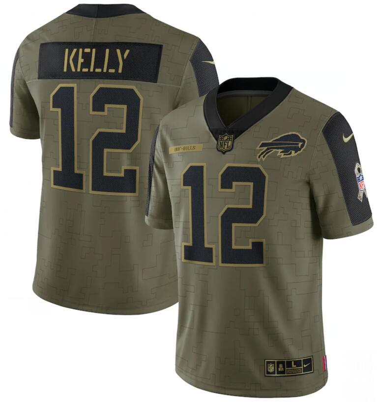Nike Bills 12 Jim Kelly Olive 2021 Salute To Service Limited Jersey