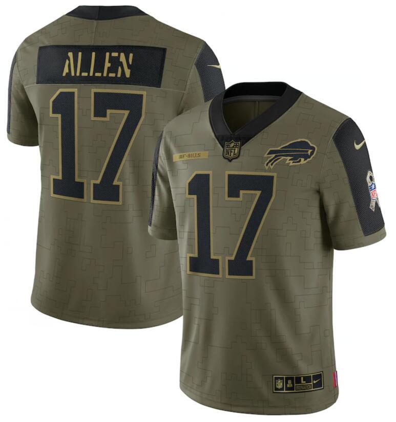 Nike Bills 17 Josh Allen Olive 2021 Salute To Service Limited Jersey