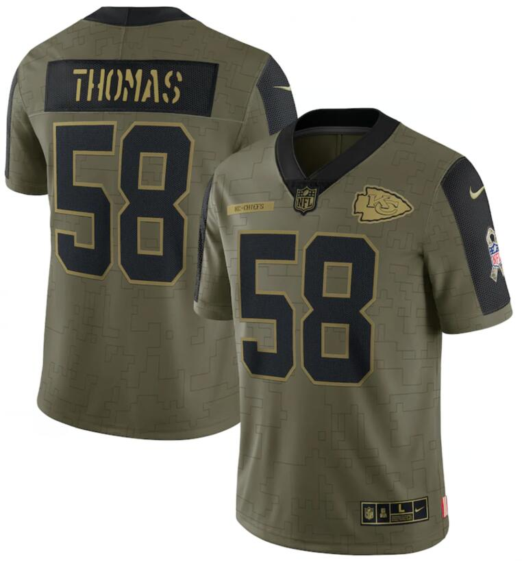 Nike Chiefs 58 Derrick Thomas Olive 2021 Salute To Service Limited Jersey