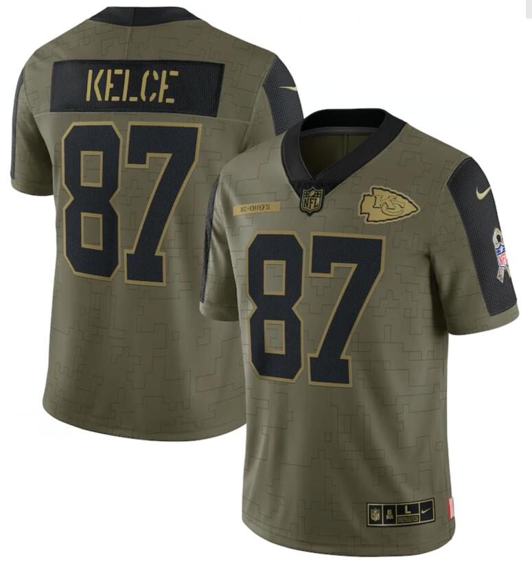 Nike Chiefs 87 Travis Kelce Olive 2021 Salute To Service Limited Jersey