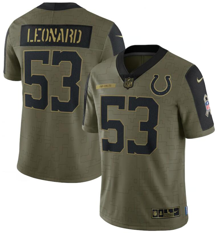Nike Colts 53 Darius Leonard Olive 2021 Salute To Service Limited Jersey