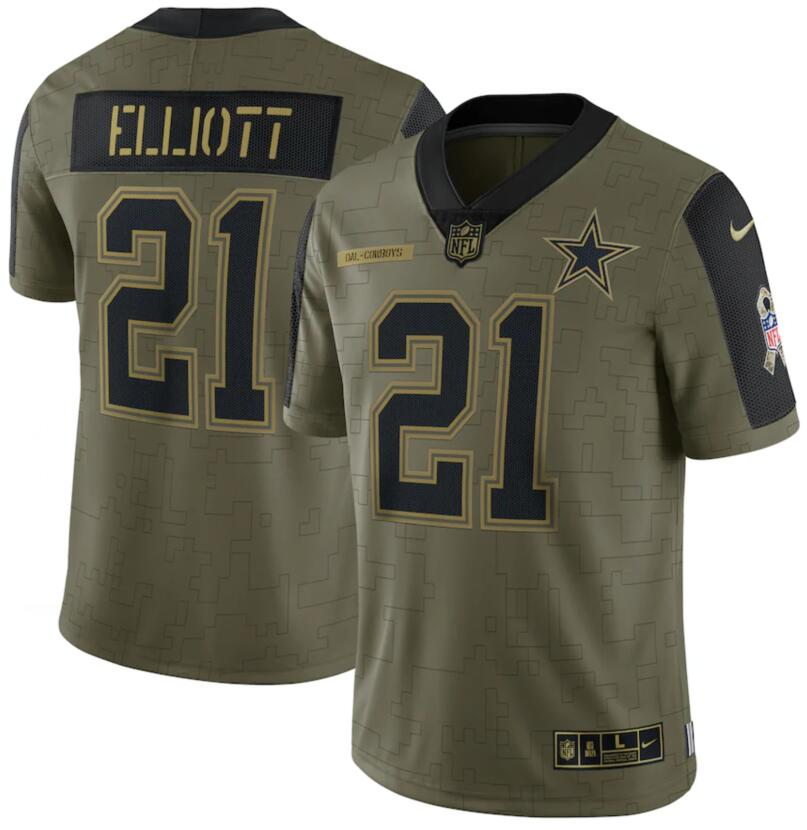 Nike Cowboys 21 Ezekiel Elliott Olive 2021 Salute To Service Limited Jersey