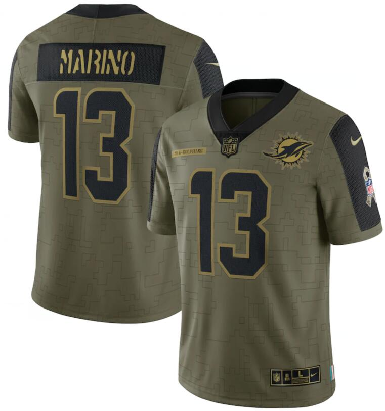 Nike Dolphins 13 Dan Marino Olive 2021 Salute To Service Limited Jersey