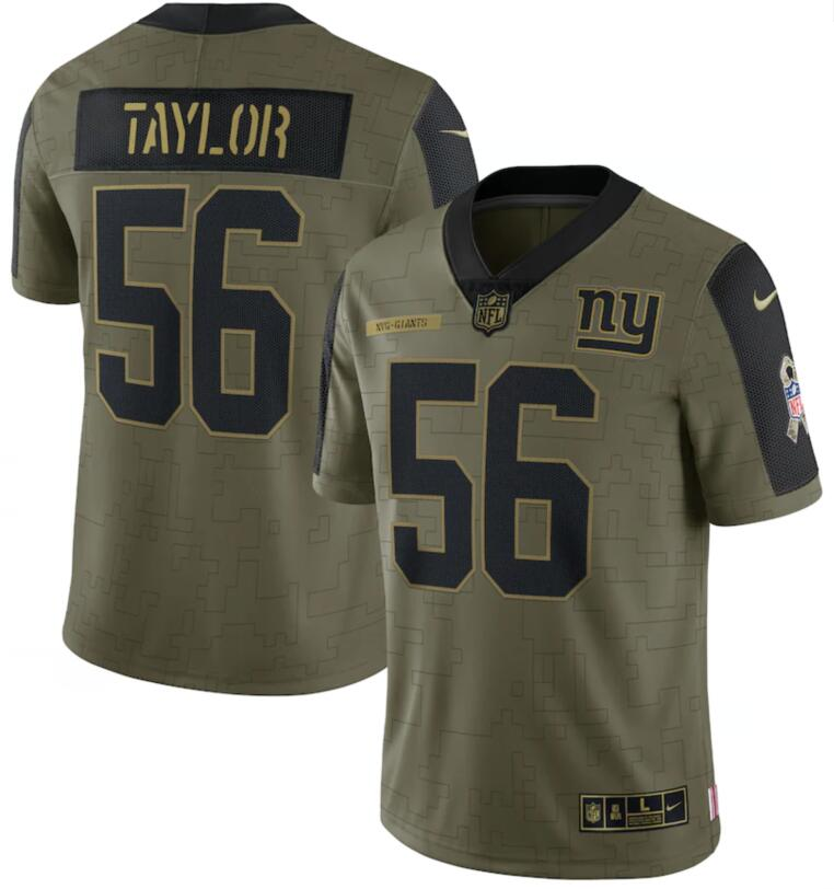 Nike Giants 56 Lawrence Taylor Olive 2021 Salute To Service Limited Jersey