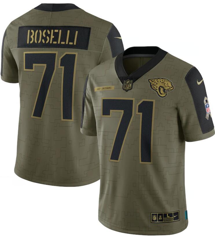 Nike Jaguars 71 Tony Boselli Olive 2021 Salute To Service Limited Jersey