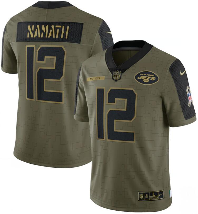 Nike Jets 12 Joe Namath Olive 2021 Salute To Service Limited Jersey