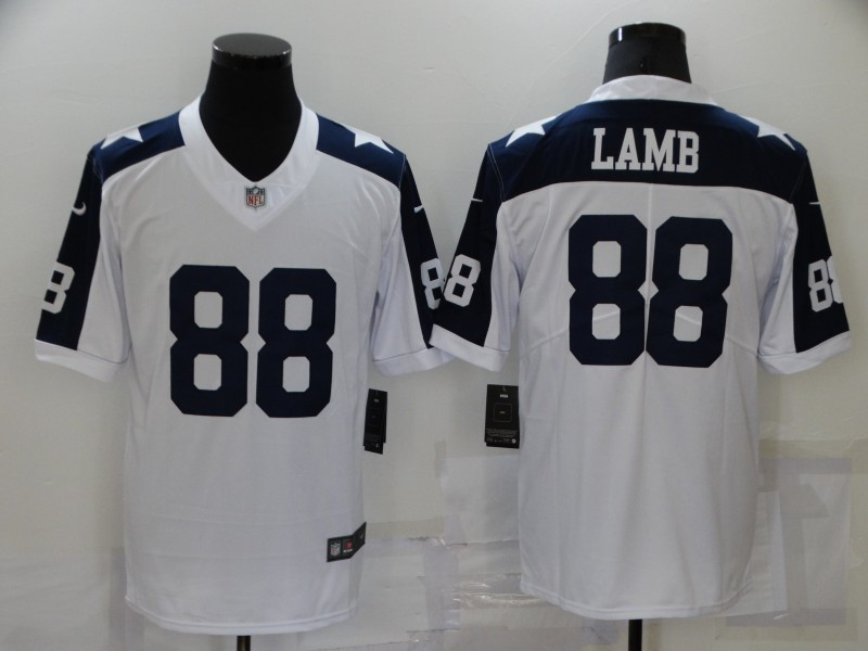 Nike Cowboys 88 Ceedee Lamb White Color Rush Throwback Limited Jersey