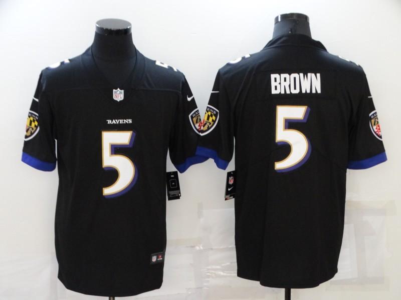 Nike Ravens 5 Marquise Brown Black Vapor Untouchable Limited Jersey