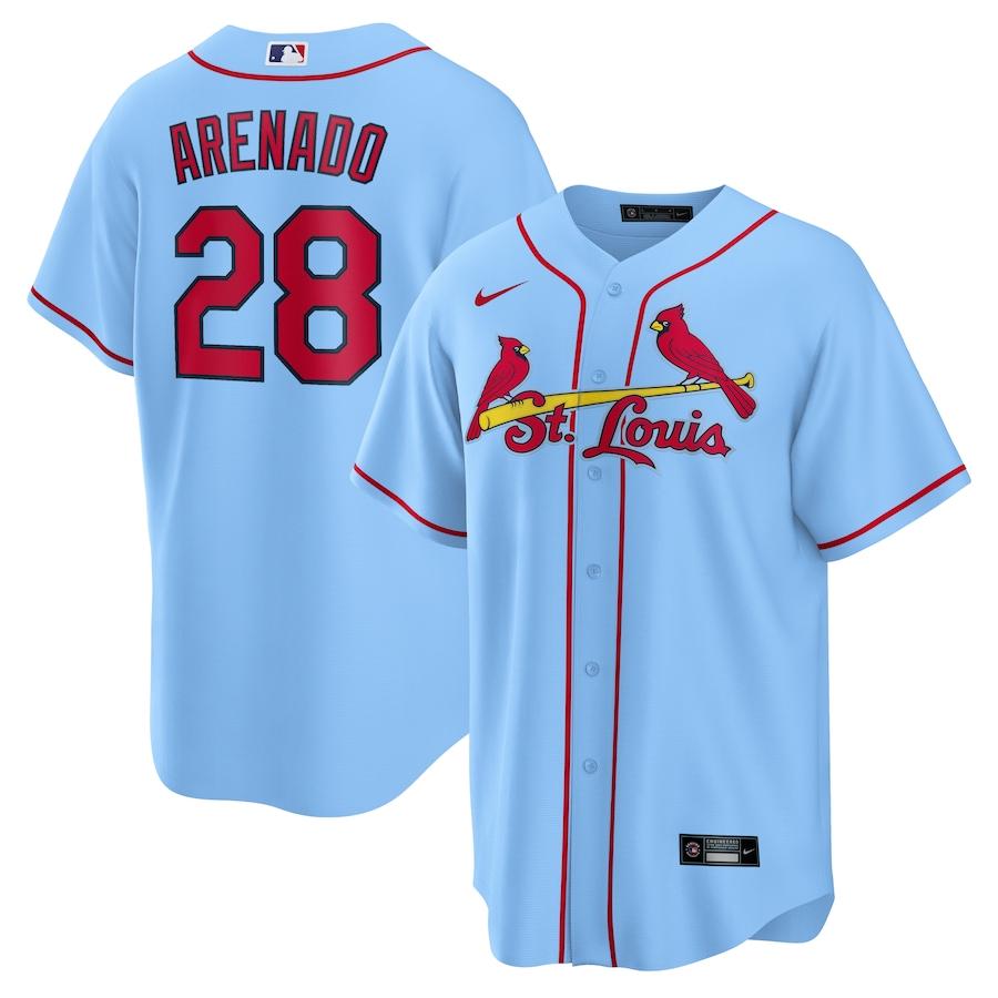 Cardinals 28 Nolan Arenado Light Blue Nike Cool Base Jersey