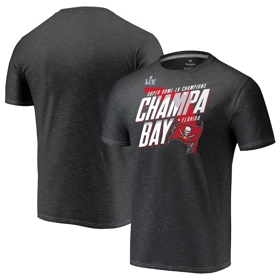 Men's Tampa Bay Buccaneers Fanatics Branded Charcoal Super Bowl LV Champions Hometown Champa Bay Space Dye T-Shirt