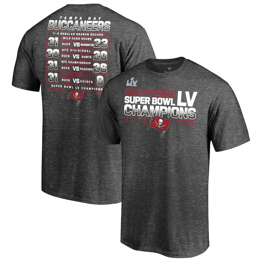 Men's Tampa Bay Buccaneers Fanatics Branded Heathered Charcoal Super Bowl LV Champions Lateral Schedule T-Shirt