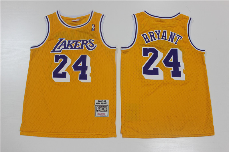 Lakers 24 Kobe Bryant Yellow 2007-08 Hardwood Classics Jersey