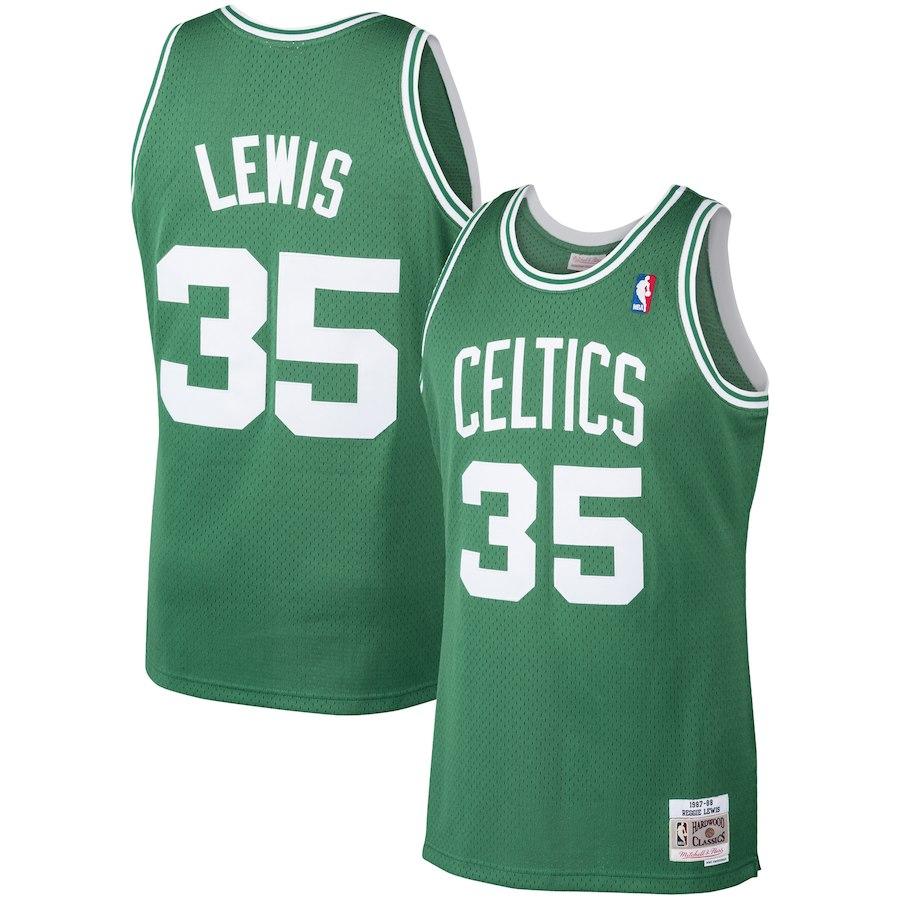 Celtics 35 Reggie Lewis Kelly Green Printed 1987-88 Hardwood Classic Jersey