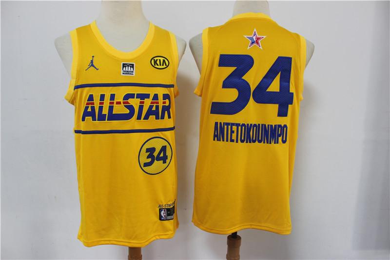 Bucks 34 Giannis Antetokounmpo Yellow 2021 NBA All-Star Jordan Brand Swingman Jersey