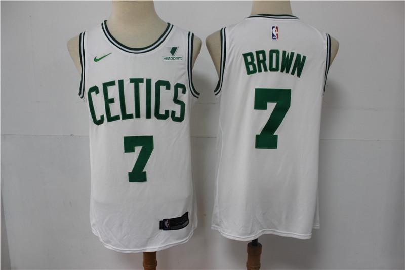 Celtics 7 Jaylen Brown White Nike Swingman Jersey