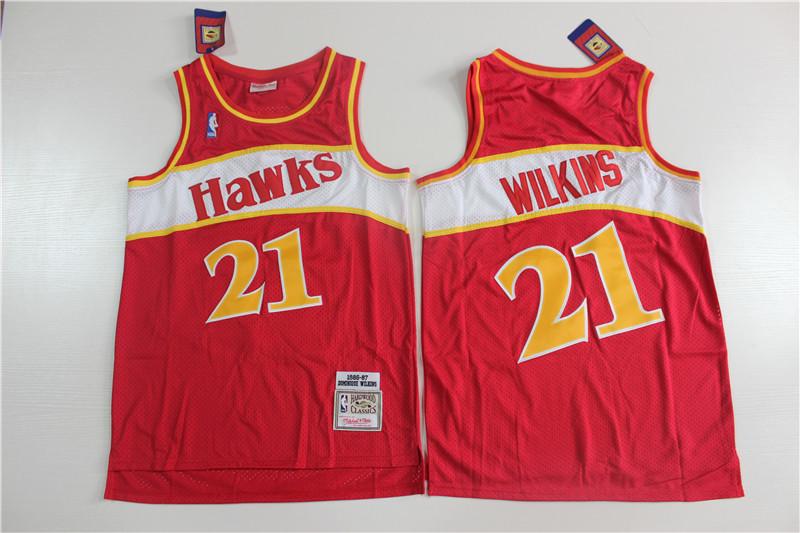Hawks 21 Dominique Wilkins Red 1986-87 Hardwood Classics Jersey