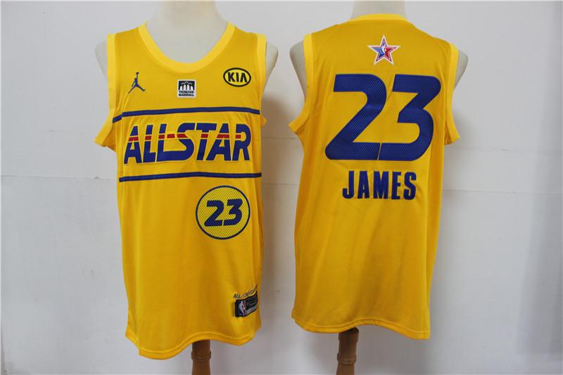 Lakers 23 Lebron James Yellow 2021 NBA All-Star Jordan Brand Swingman Jersey