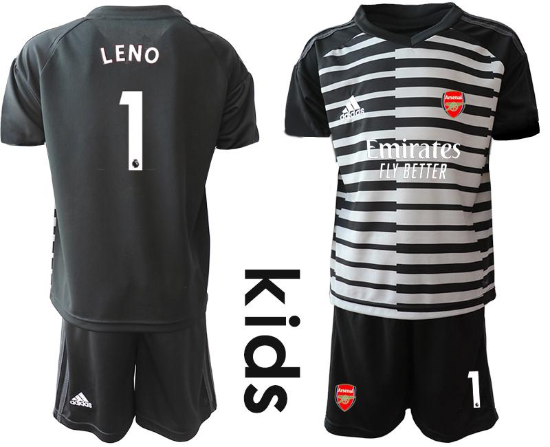 2020-21 Arsenal 1 LENO Black Youth Goalkeeper Soccer Jersey
