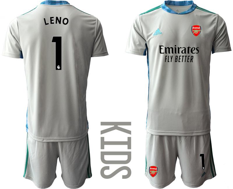 2020-21 Arsenal 1 LENO Gray Youth Goalkeeper Soccer Jersey