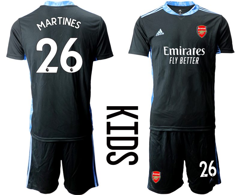 2020-21 Arsenal 26 MARTINES Black Youth Goalkeeper Soccer Jerseys