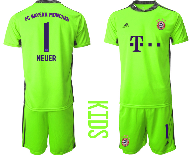 2020-21 Bayern Munich 1 NEUER Fluorescent Green Youth Goalkeeper Soccer Jersey