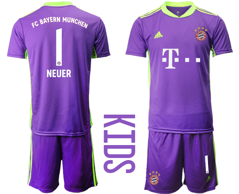 2020-21 Bayern Munich 1 NEUER Purple Youth Goalkeeper Soccer Jersey