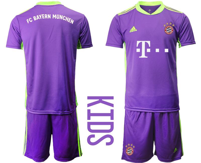2020-21 Bayern Munich Purple Youth Goalkeeper Soccer Jersey