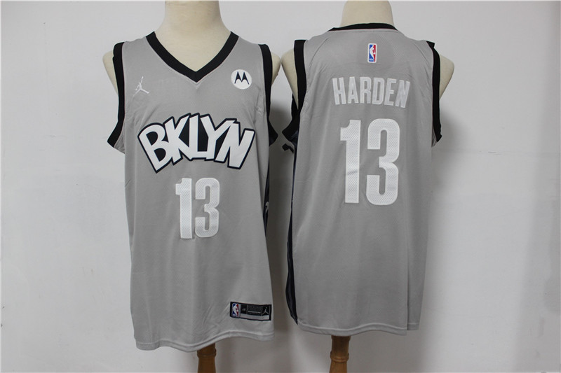 Nets 13 James Harden Gray 2021 Swingman Jersey
