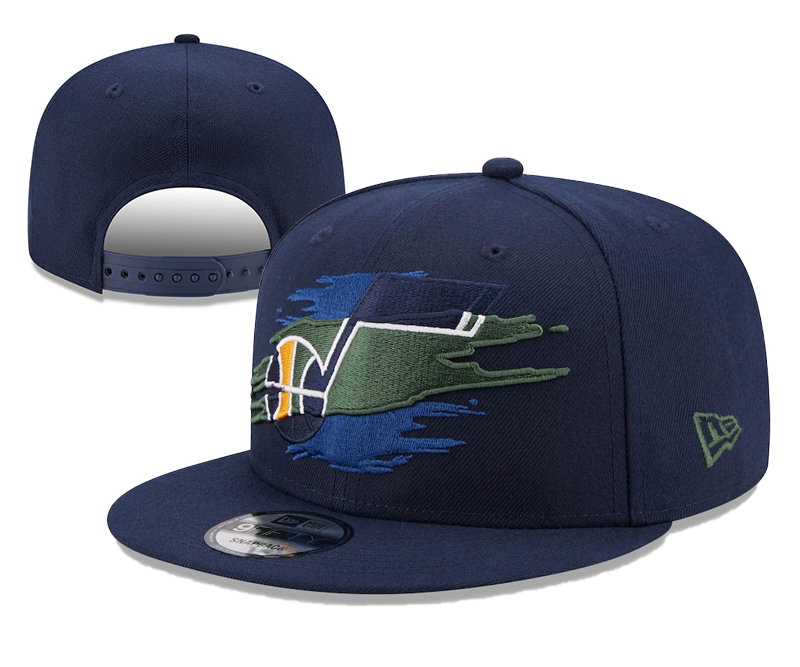 Jazz Team Logo Tear Navy New Era Adjustable Hat YD