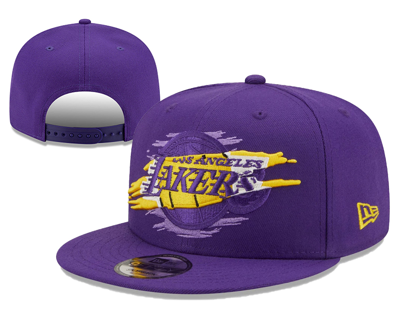 Lakers Team Logo Tear Purple New Era Adjustable Hat YD