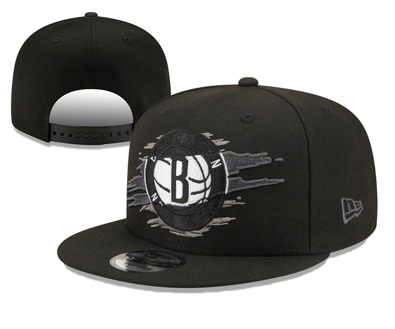 Nets Team Logo Tear Black New Era Adjustable Hat YD