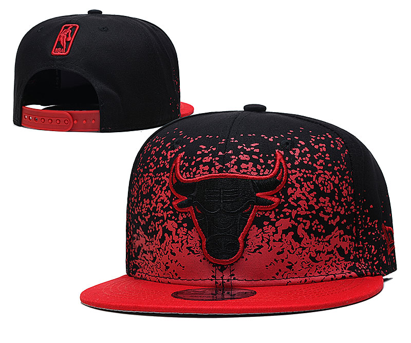 Bulls Team Logo New Era Black Red Fade Up Adjustable Hat YD
