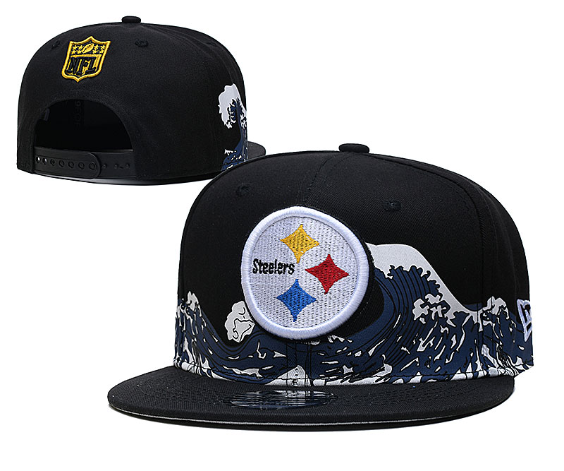 Steelers Team Logo New Era Black Adjustable Hat YD